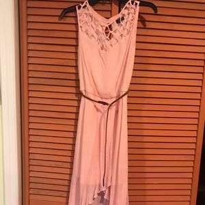 Light pink high low dress with brown braided belt